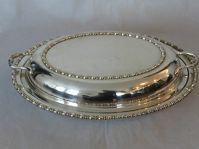 "Vintage Silver Plate Oval Entree Dish w Insert and Lid 11.5""  (ref62)"