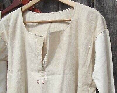 Antique French peasant Linen Smock Farmers Shirt Tunic Hand stitched