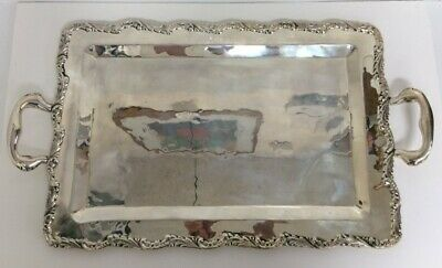 Vintage Peru Peruvian Solid Rectangular Sterling Silver Serving Tea Tray Platter