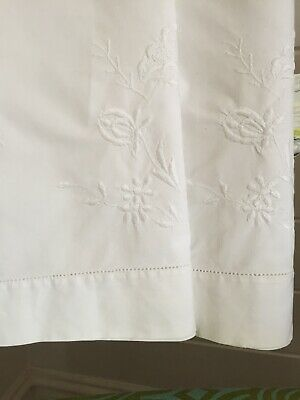 2 Lovely Large Vintage Pillow Cases Slips White Cotton Embroidered Beautiful VGC