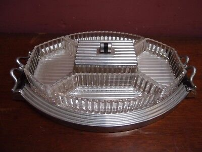 Vintage Art Deco Glass Mirrored Polished Aluminium Hors D'oeuvres Serving Tray