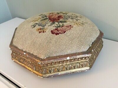 Small Antique Victorian Tapestry Needlepoint Footstool Ball Bun Feet Shabby 30cm