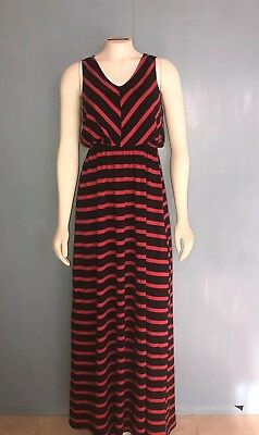 Ya Los Angeles Women's Maxi Dress Striped Black And Red Size S Modest