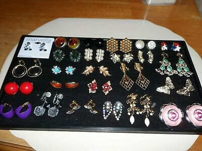 Lot of 25 Pairs of Antique & Vintage Clip On Earrings ~Lots of Designer Signed~