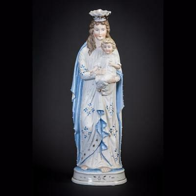Virgin Mary Child Jesus Statue | Madonna Baby Christ Porcelain Figure | 13""