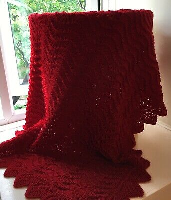 """Hand Knitted Red Baby Boys/Girls  Blanket / Shawl 30"""" X 35"""""""