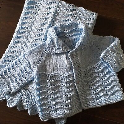Hand Knitted Blue Baby Blanket and Cardigan, 9-12 months