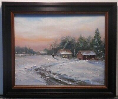 Evening Chores 8x10 framed original oil painting Celene Farris Maine barn snow