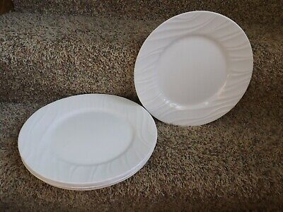 Corelle White Swirl Enhancements Lot of 8 Dinner Plates 10 7/8""