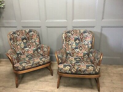 Matching Pair Of Vintage Retro Ercol Jubilee Lounge Chairs In Golden Dawn Finish
