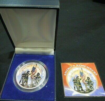 2002 American Heroes Colorized Silver Eagle with Box and COA