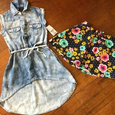 Cherokee girls combo outfit floral skirt and stone wash romper size 5