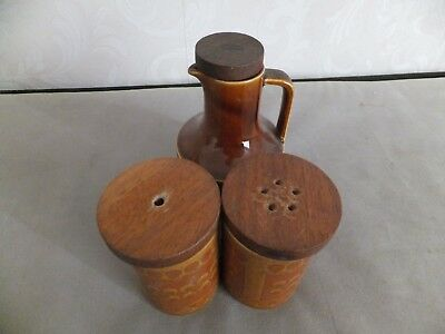 HORNSEA POTTERY SAFFRON   VINEGAR JUG plus SALT & PEPPER SET