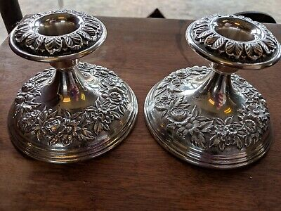 Pair of S Kirk & Son Sterling Silver Repousse Candlesticks #109 F