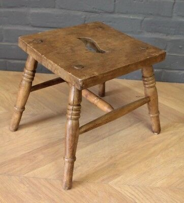 Antique Victorian Elm Farmhouse Four Legged Stool