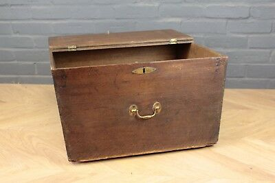 Antique Georgian George III Regency Oak Ships Map Chest (Box Trunk)