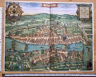 Old Antique Map Zurich, Switzerland: 1581 Braun & Hogenberg REPRINT 1500s Tudor