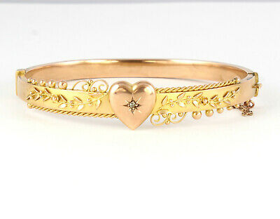 Antique Edwardian 9Ct Gold And Diamond Heart Bangle Bracelet