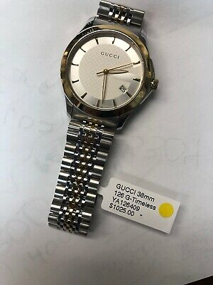 a727e7a627f GUCCI G-TIMELESS SILVER Dial Two Tone Gold YA126409 38mm Watch ...