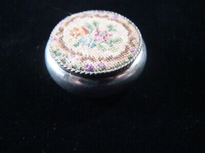 Antique Birks Co. Sterling Silver Petit Point Pill Box Very Nice!!