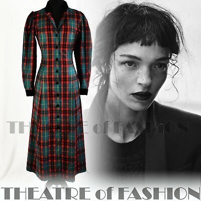 Coat Dress Tartan Vintage Laura Ashley Riding 12 10 8 Victorian Vamp Edwardian