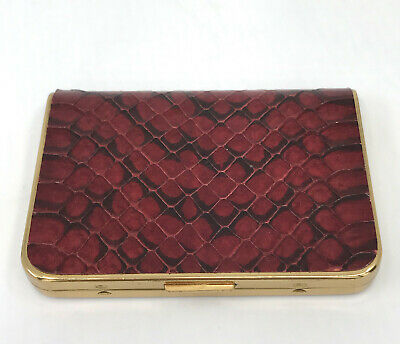 Wadsworth Ladies Powder Compact Faux Red Snakeskin Signed Puff Vtg Damage As Is