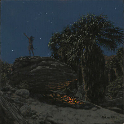 Early California Palm Springs Native American Nocturne Landscape Painting