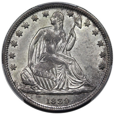 PQ PCGS AU58 1839 SEATED LIBERTY HALF DOLLAR WITH DRAPERY TYPE 2 50c  (BC67)