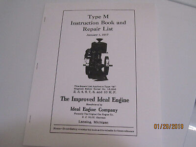 1917 Ideal Gas Engine Co Improved Ideal Type M  Instruction/Parts  Manual