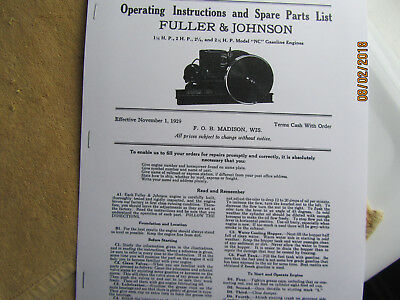 1929  1 1/2, - 2 1/2HP  NC Fuller Johnson  Gas Engine Instructions/Parts Manual
