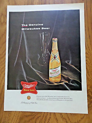 1955 Miller High Life Beer Ad  The Genuine Milwaukee Beer