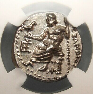 NGC MS Alexander The Great Drachma. Spectacular ancient Greek coin. VERY RARE