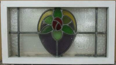 "OLD ENGLISH LEADED STAINED GLASS WINDOW Gorgeous Floral Design 21"" x 11.75"""