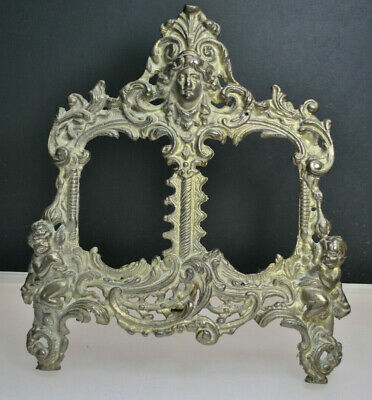 Beautiful Antique Cast Iron Dual Photo Frame With Stand, Cherubs & Goddess