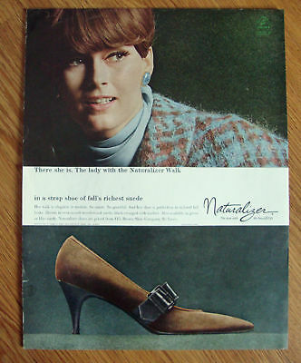 1966  Naturalizer Shoe Ad Lady with Naturalizer Walk