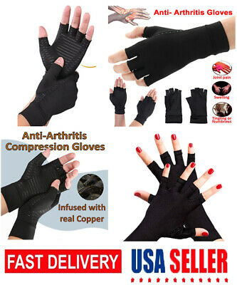 Copper Arthritis Fit Compression Gloves Hand Support Arthritic Joint Pain Relief