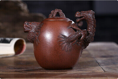 EXQUISITE Chinese Old Yixing zisha teapot handmade Red Dragon teapot 300cc
