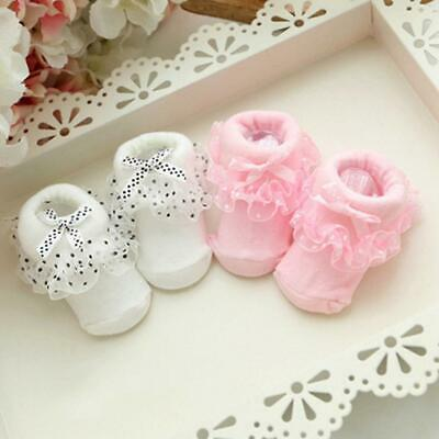 Unisex Cute Solid Lace Bow Soft Baby Toddler Short Socks MSF 02