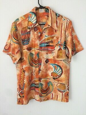 f1b4bd71 Vintage 1960s GO BAREFOOT IN PARADISE Hawaiian Shirt Medium surf Tribal Tiki