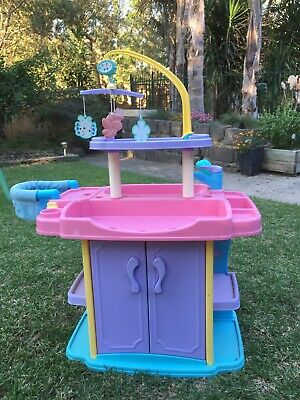 Plastic Pretend Play Baby Doll Changing Station and high chair