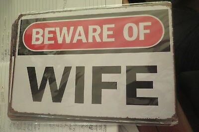 beware of wife metal sign MAN CAVE brand new