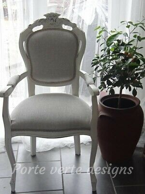 French Louis Style Dining/Bedroom Chair In Laura AshleyDawson Fabric Dove Grey