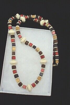 "vintage chunky wooden red brown tan white beaded retro wood 28"" necklace D3 lot"