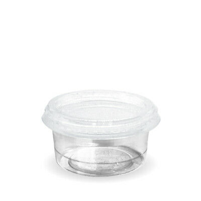 2000x Sauce Cup with Lid 90mL Eco Clear Plastic Portion Container Dip Condiment