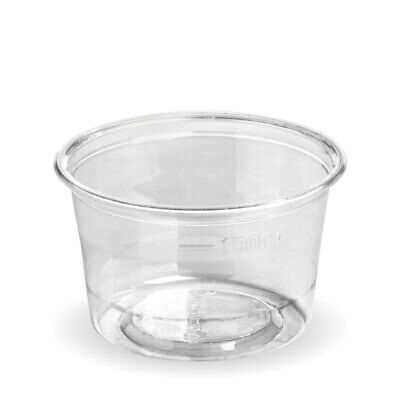 1000x Sauce Cup with Lid 140mL Eco Clear Plastic Portion Container Dip Condiment