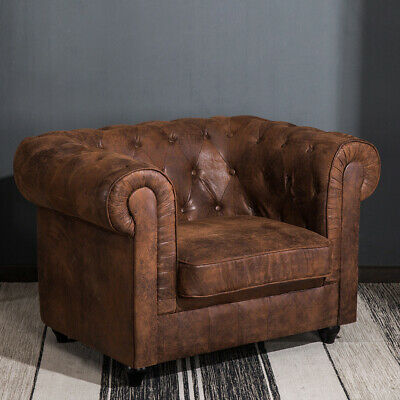 Huge Chesterfield Sofa Armchairs in ANTIQUE BROWN Distressed Tan Leather Effect