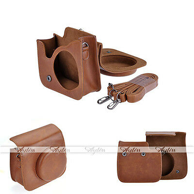 New Brown PU Leather Camera Bag Cover Case Shoulder Bag for Fujifilm Instax Mini
