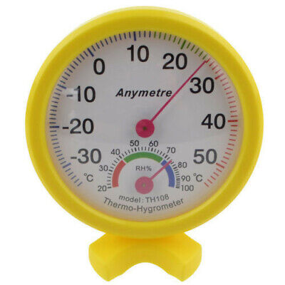 Hygrometer Humidity Temperature Thermometer Clock-shaped For Indoor Outdoor yell