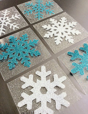 glitter white blue frozen snowflake fabric iron on tshirt transfer patch 2 inch