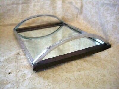 Art Deco Cocktail Tray – Barware~Chrome with wooden back/ mirrored tray~Stylish